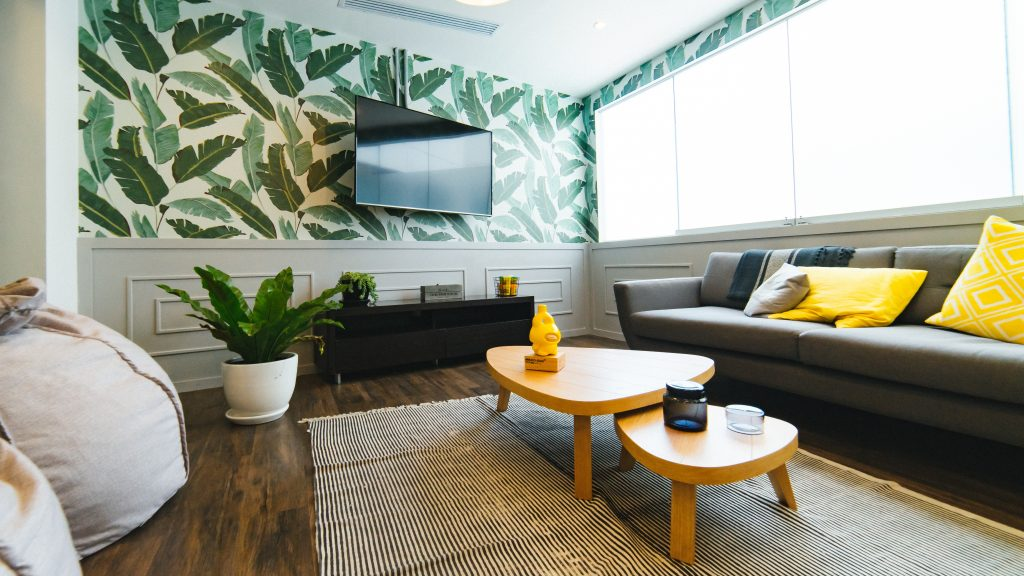 leaves, green, yellow, living, style, decor, staging