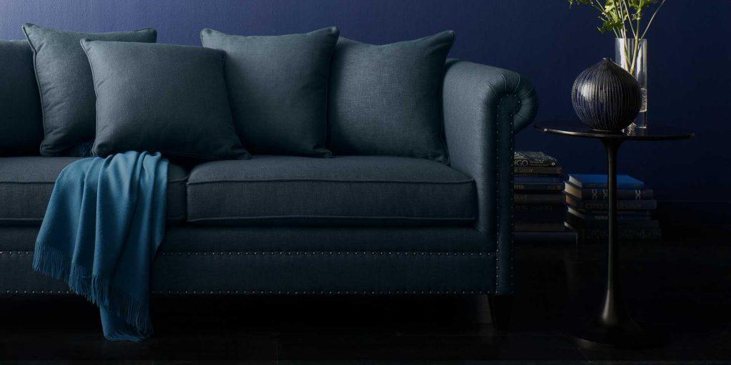 blue sofa fall trends