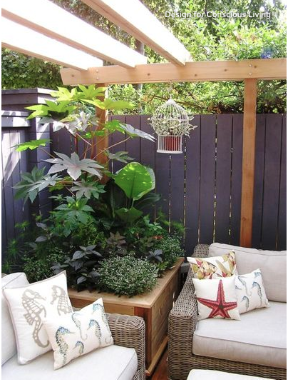 patio seating cushions summer design decor planters greenery outdoor living